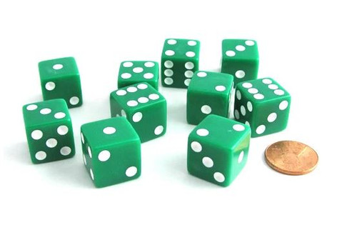 Dice and Gaming Accessories D6 Sets: Yellow and Green - Opaque Green w/ White D6 (12)