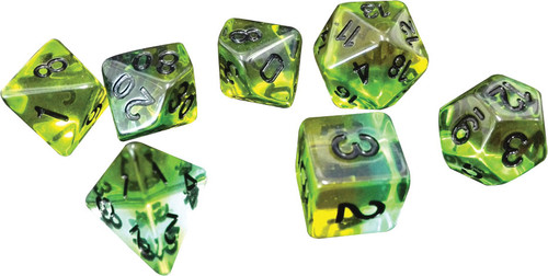 Dice and Gaming Accessories Polyhedral RPG Sets: Yellow and Green - RPG Dice Set (7): Mojito
