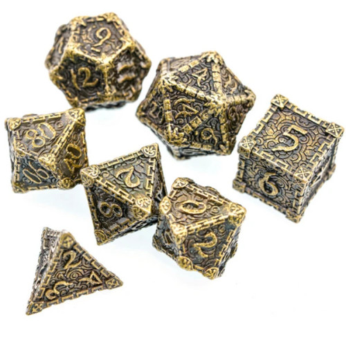 Dice and Gaming Accessories Polyhedral RPG Sets: Metal and Metallic - Dagger of Venom: Bronze (7)