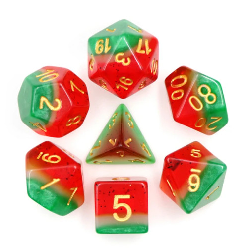 Dice and Gaming Accessories Polyhedral RPG Sets: Red and Orange - Watermelon (7)
