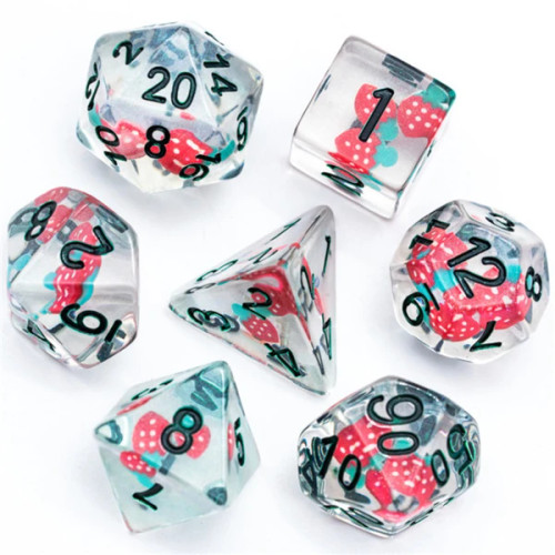 Dice and Gaming Accessories Polyhedral RPG Sets: Transparent/Translucent - Strawberry (7)