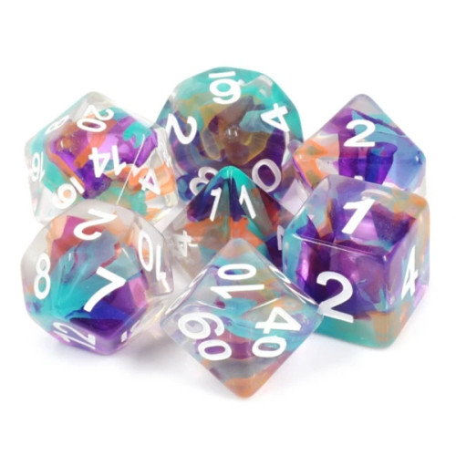 Dice and Gaming Accessories Polyhedral RPG Sets: Transparent/Translucent - Unknown Land Ribbon (7)