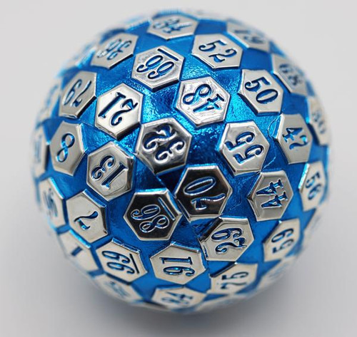 Dice and Gaming Accessories Other Gaming Accessories: 45mm Metal D100 - Blue and Silver