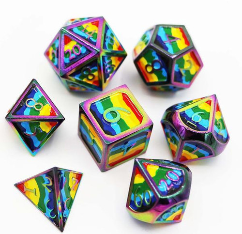 Dice and Gaming Accessories Polyhedral RPG Sets: Multicolored - Rainbow Pride Flag - Metal (7)