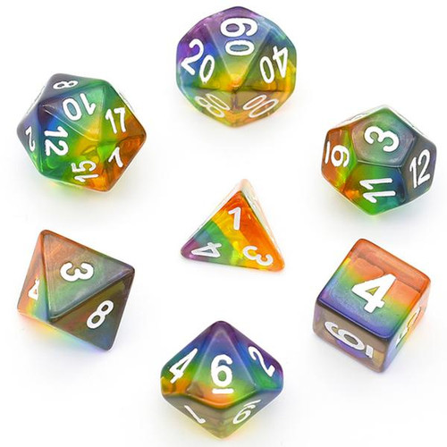 Dice and Gaming Accessories Polyhedral RPG Sets: Multicolored - Translucent Rainbow (7)