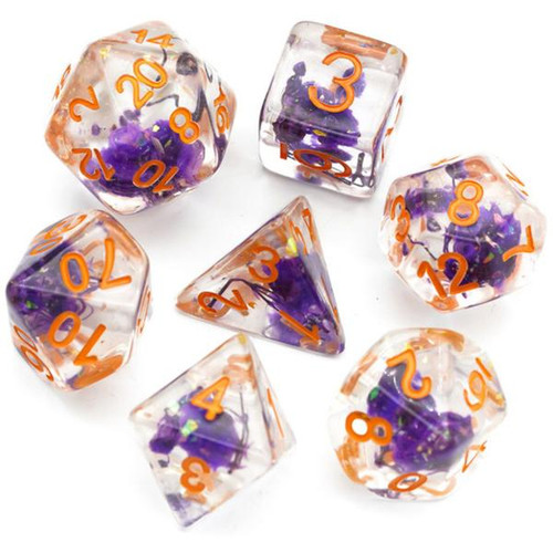 Dice and Gaming Accessories Polyhedral RPG Sets: Purple and Pink - Purple Flowers (7)