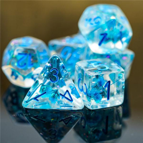 Dice and Gaming Accessories Polyhedral RPG Sets: Transparent/Translucent - Blue Flowers (7)