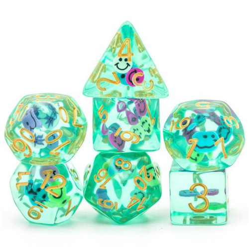 Dice and Gaming Accessories Polyhedral RPG Sets: Transparent/Translucent - Smiley (7)