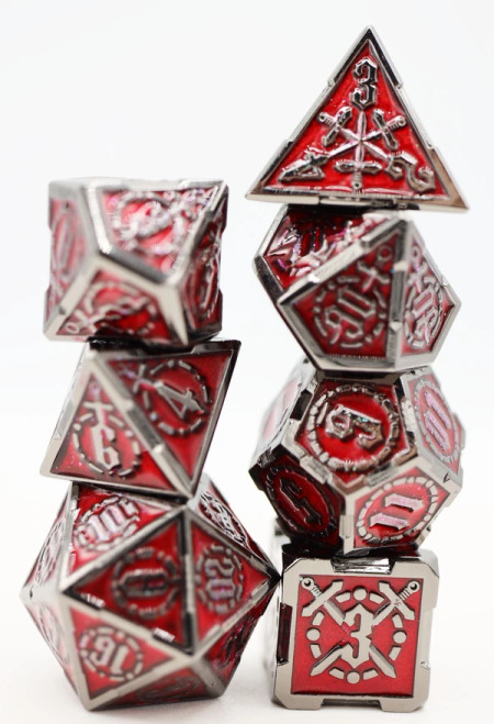 Dice and Gaming Accessories Polyhedral RPG Sets: Red and Orange - Blood Sword - Metal (7)