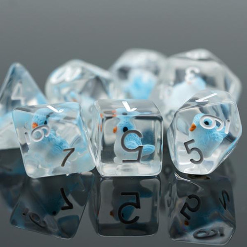 Dice and Gaming Accessories Polyhedral RPG Sets: Transparent/Translucent - Blue Bird (7)