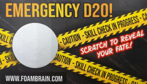 Dice and Gaming Accessories Other Gaming Accessories: Emergency D20 Scratch Off Card (Pack of 10 cards)