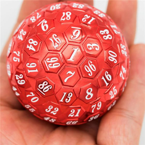 Dice and Gaming Accessories Other Gaming Accessories: 45mm Metal D100 - Red w/ White