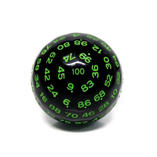 Dice and Gaming Accessories Other Gaming Accessories: 45mm D100 - Black Opaque with Green Numbers