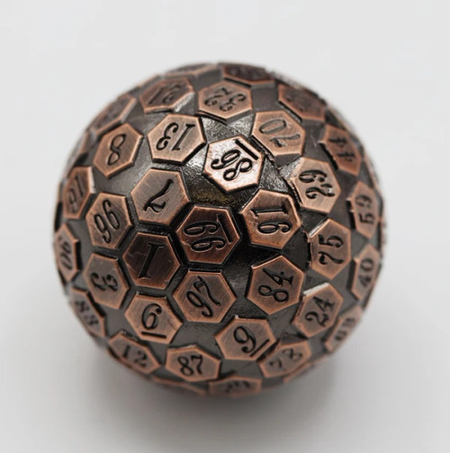 Dice and Gaming Accessories Other Gaming Accessories: 45mm Metal D100 - Copper