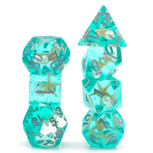 Dice and Gaming Accessories Polyhedral RPG Sets: Yellow and Green - Green Glitter with Starfish and Pearl (7)