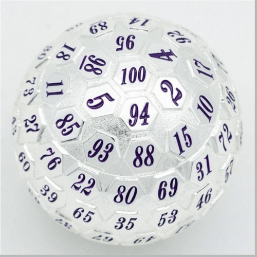 Dice and Gaming Accessories Other Gaming Accessories: 45mm Metal D100 - Platinum w/ Purple