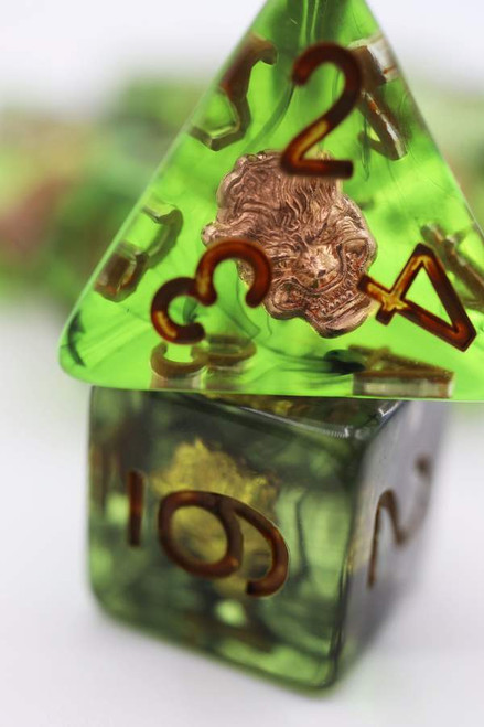 Dice and Gaming Accessories Polyhedral RPG Sets: Stuff-Inside - Druid's Wolf Class Dice Set (7)