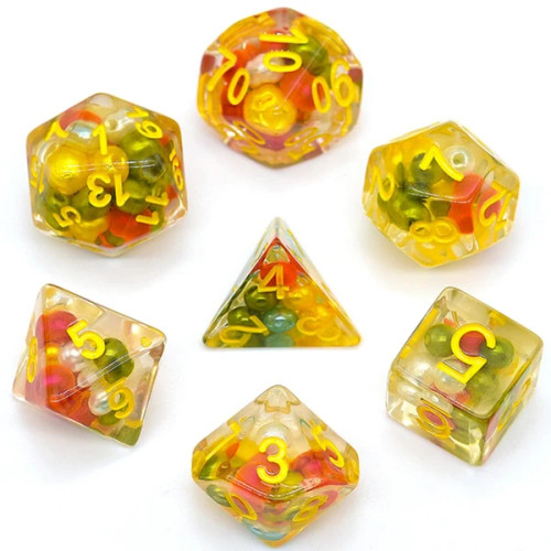 Dice and Gaming Accessories Polyhedral RPG Sets: Yellow and Green - Antique Holiday Pearl (7)