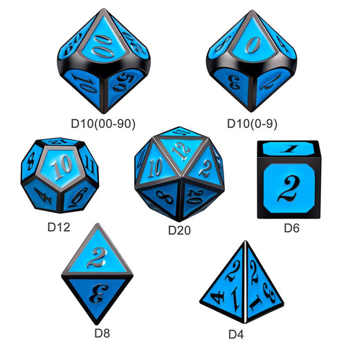 Dice and Gaming Accessories Polyhedral RPG Sets: Metal and Metallic - Sky & Gunmetal - Metal (7)