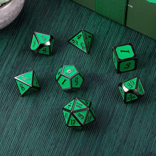 Dice and Gaming Accessories Polyhedral RPG Sets: Metal and Metallic - Apple & Gunmetal - Metal (7)