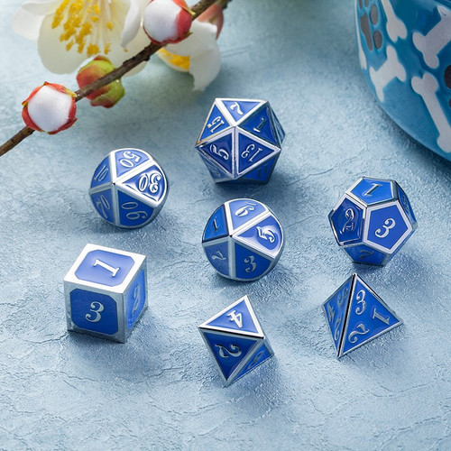 Dice and Gaming Accessories Polyhedral RPG Sets: Metal and Metallic - Azure & Silver - Metal (7)