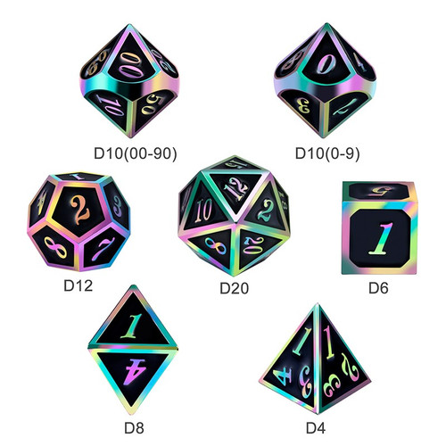 Dice and Gaming Accessories Polyhedral RPG Sets: Metal and Metallic - Black Iridescence - Metal (7)