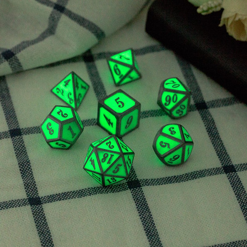Dice and Gaming Accessories Polyhedral RPG Sets: Metal and Metallic - Green Glow In The Dark - Metal (7)