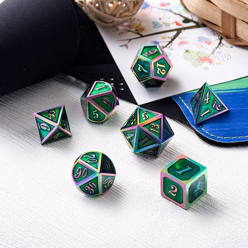 Dice and Gaming Accessories Polyhedral RPG Sets: Metal and Metallic - Green Iridescence - Metal (7)