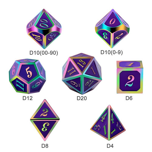 Dice and Gaming Accessories Polyhedral RPG Sets: Metal and Metallic - Royal Purple Iridescence - Metal (7)