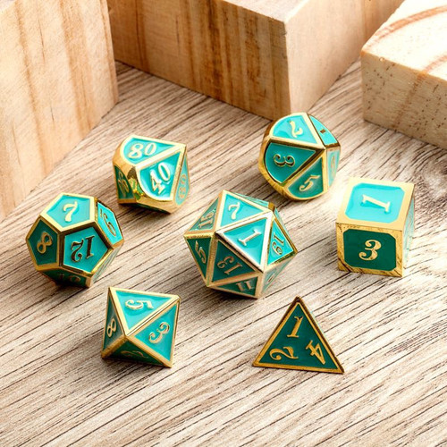 Dice and Gaming Accessories Polyhedral RPG Sets: Metal and Metallic - Teal & Gold - Metal (7)