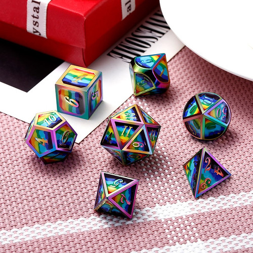 Dice and Gaming Accessories Polyhedral RPG Sets: Multicolored - Psychedelic - Metal (7)