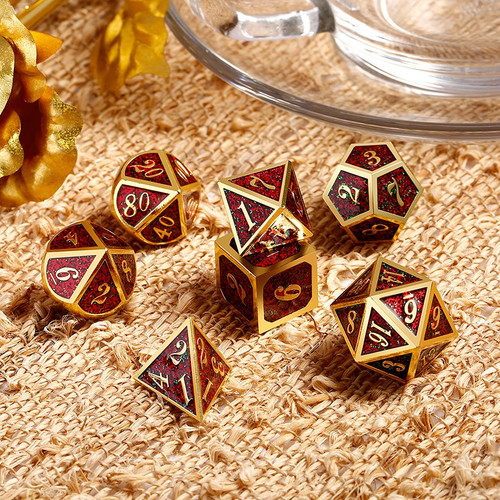 Dice and Gaming Accessories Polyhedral RPG Sets: Red and Orange - Fireflies - Metal (7)
