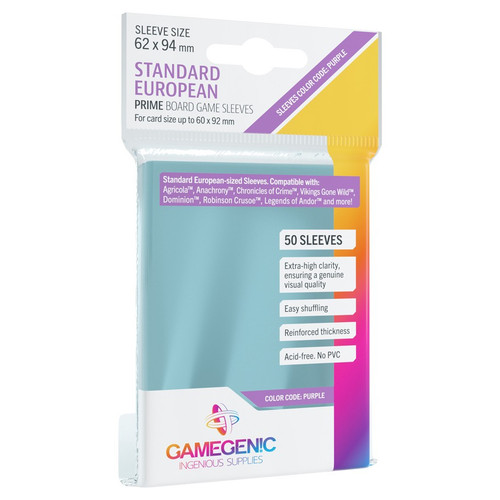 Card Sleeves: Non-Standard Sleeves - Prime Board Game Sleeves: Standard European-Sized 62mm x 94mm (50) (Purple)