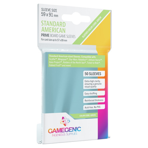 Card Sleeves: Non-Standard Sleeves - Prime Board Game Sleeves: Standard American-Sized 59mm x 91mm (50) (Green)