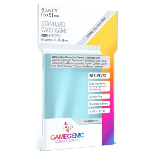 Card Sleeves: Non-Standard Sleeves - Prime Board Game Sleeves: Standard Card Game Sleeves 66mm x 91mm (50) (Gray)