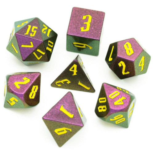 Dice and Gaming Accessories Polyhedral RPG Sets: Glitter - Jumbo Color-Shifting: Rose Red, Green, & Golden (7)