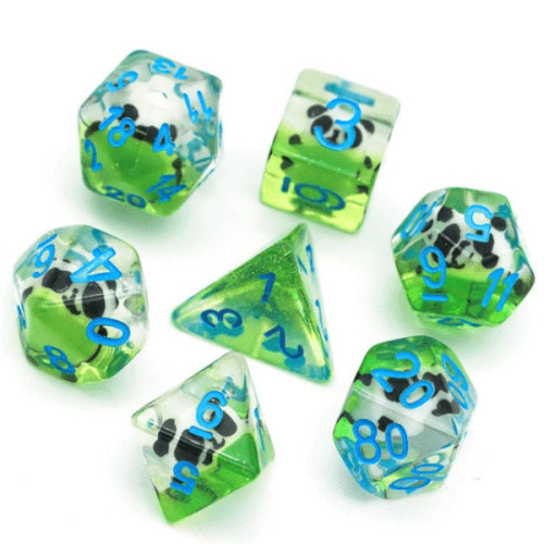 Dice and Gaming Accessories Polyhedral RPG Sets: Transparent/Translucent - Panda (7)