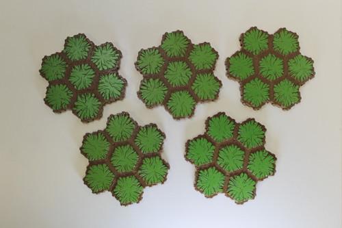 Heroscape Terrain - 5 Grass 7 Hex Tiles [U-B3S4 282789]