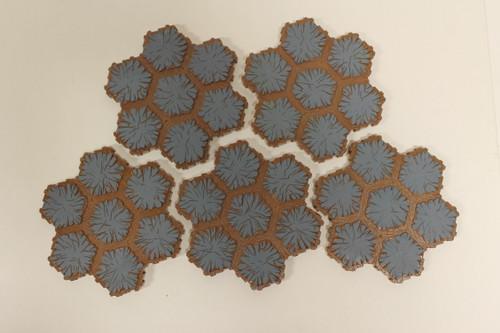 Heroscape Terrain - 5 Blue 7 Hex Tiles [U-B3S4 282790]