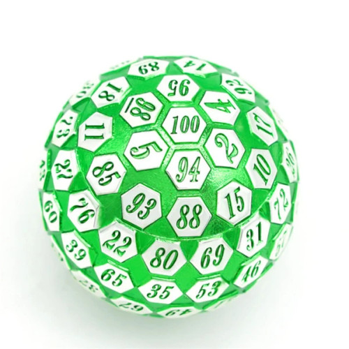 Dice and Gaming Accessories Other Gaming Accessories: 45mm Metal D100 - Green and Silver