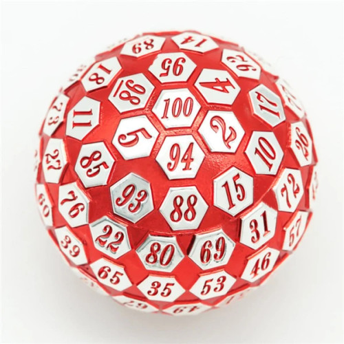 Dice and Gaming Accessories Other Gaming Accessories: 45mm Metal D100 - Red and Silver