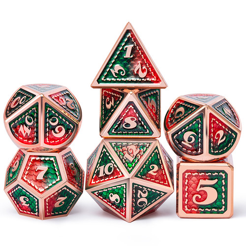 Dice and Gaming Accessories Polyhedral RPG Sets: Red and Orange - Quetzal - Metal (7)