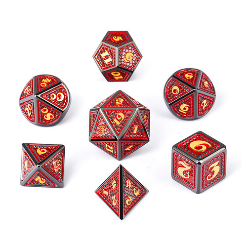 Dice and Gaming Accessories Polyhedral RPG Sets: Red and Orange - Spellbound - Metal (7)