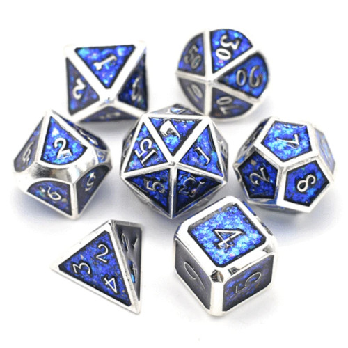 Dice and Gaming Accessories Polyhedral RPG Sets: Metal and Metallic - Electric Blue - Metal (7)