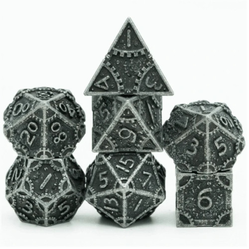 Dice and Gaming Accessories Polyhedral RPG Sets: Metal and Metallic - Steampunk Stained Black - Metal (7)