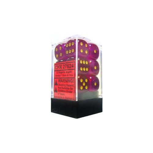 Dice and Gaming Accessories D6 Sets: Glitter - Borealis: 16mm D6 Magenta/Gold (12)