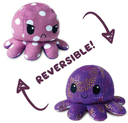 Stuffed Toys: Reversible Octopus Mini Plush: Polka Dot/Shimmer