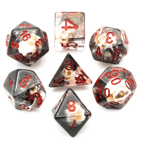 Dice and Gaming Accessories Polyhedral RPG Sets: Black and Grey - Black Smoke Skull (7)