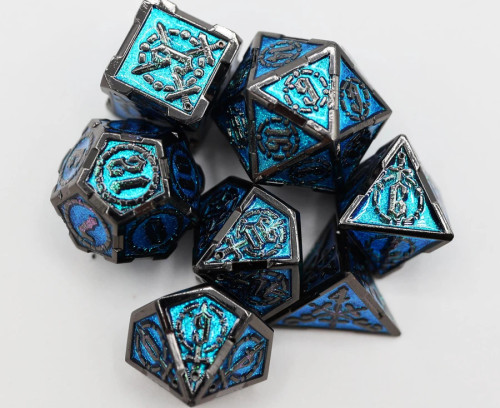 Dice and Gaming Accessories Polyhedral RPG Sets: Blue and Turquoise - Sword of the Deep - Metal (7)