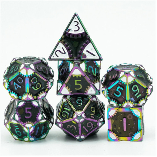 Dice and Gaming Accessories Polyhedral RPG Sets: Multicolored - Steampunk Dark Lord - Metal (7)